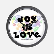 Dog is love, color Wall Clock