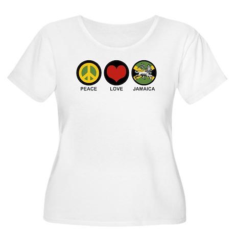 Peace Love Jamaica Women's Plus Size Scoop Neck T-