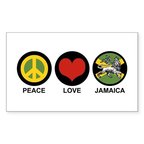 Peace Love Jamaica Rectangle Sticker