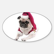 Christmas Pug Oval Sticker (10 pk)