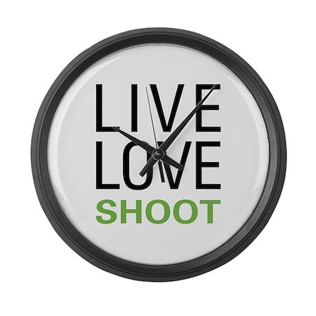 Live Love Shoot Large Wall Clock