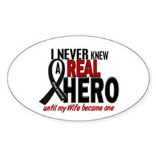 Never Knew A Hero 2 MELANOMA (Wife) Oval Decal