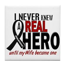 Never Knew A Hero 2 MELANOMA (Wife) Tile Coaster