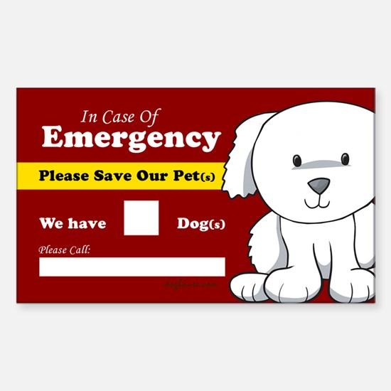 Emergency We Have Dogs Rectangle Decal
