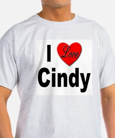 I Love Cindy (Front) Ash Grey T-Shirt