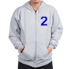 Varsity Font Number 2 Blue Zip Hoodie