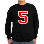 Varsity Font Number 5 Red Sweatshirt (dark)