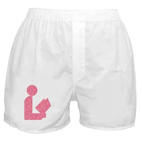 Pink Swirls Library Logo Boxer Shorts