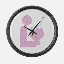 Purple Swirls Library Logo Large Wall Clock