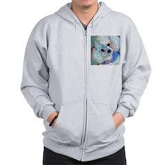 White Poodle Zip Hoodie