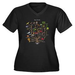 Tree of Life Women's Plus Size V-Neck Dark T-Shirt