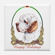 Clumber Spaniel Holiday Tile Coaster