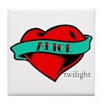 Twilight Alice Heart Tattoo Tile Coaster