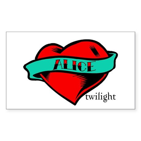 Twilight Alice Heart Tattoo Rectangle Sticker
