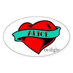 Twilight Alice Heart Tattoo Oval Sticker (50 pk)