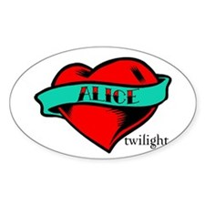 Twilight Alice Heart Tattoo Oval Decal