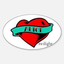 Twilight Alice Heart Tattoo Oval Decal