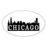 Chicago Skyline Oval Sticker (10 pk)