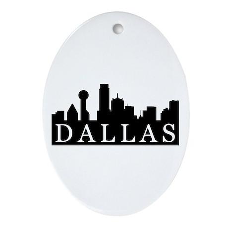 Dallas Skyline Oval Ornament