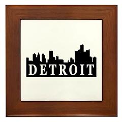 Detroit Skyline Framed Tile