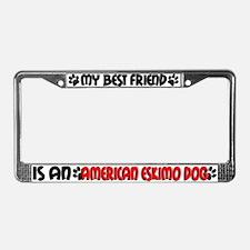 American Eskimo Dog License Plate Frame
