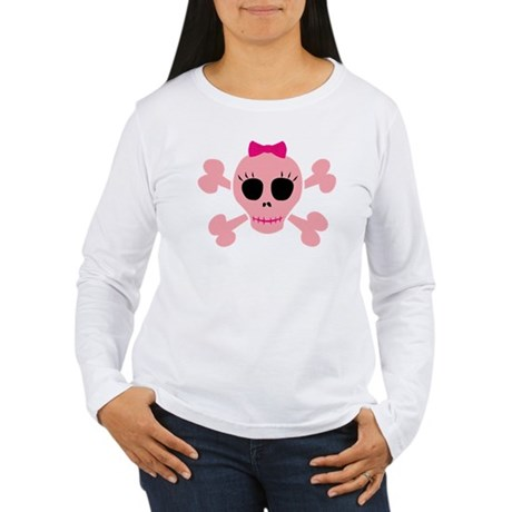 Funny Pink Skull Women's Long Sleeve T-Shirt