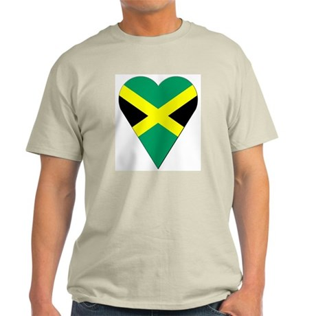 Jamaica Heart-Shaped Flag Ash Grey T-Shirt