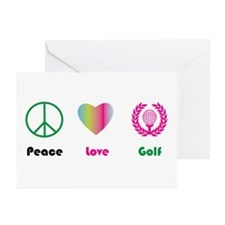 Peace, Love, Golf - Greeting Cards (Pk of 10)