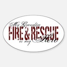 Grandpa My Hero - Fire & Rescue Oval Decal