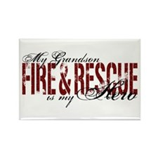 Grandson My Hero - Fire & Rescue Rectangle Magnet