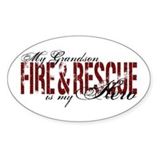 Grandson My Hero - Fire & Rescue Oval Decal