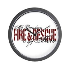 Grandson My Hero - Fire & Rescue Wall Clock