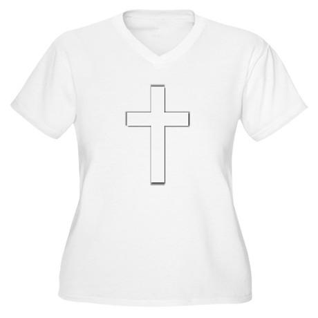 Simple Cross Women's Plus Size V-Neck T-Shirt