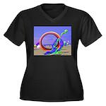 Fantasy Beach Women's Plus Size V-Neck Dark T-Shir
