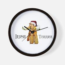Irish Terrier Santa Wall Clock