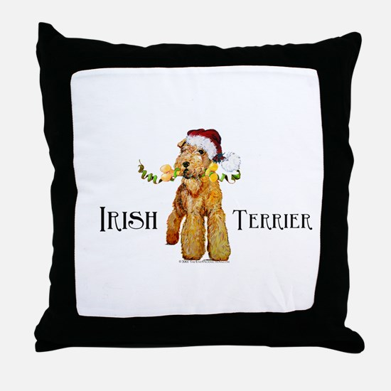 Irish Terrier Santa Throw Pillow