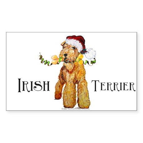 Irish Terrier Santa Sticker (Rectangle)