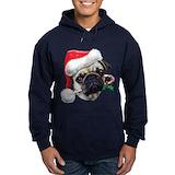 Christmas pug Dark Hoodies