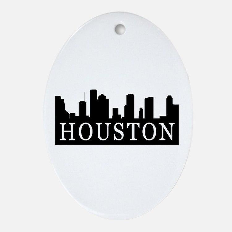 Houston Skyline Oval Ornament