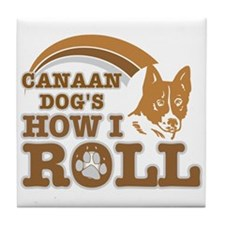 canaan dog's how I roll Tile Coaster