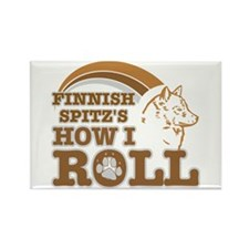 finnish spitz's how I roll Rectangle Magnet (100 p
