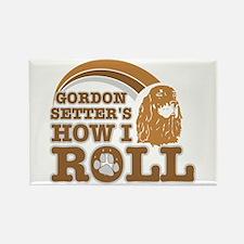 gordon setter's how I roll Rectangle Magnet (10 pa