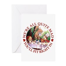 WE'RE ALL MAD - RED Greeting Cards (Pk of 20)