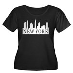 New York Skyline Women's Plus Size Scoop Neck Dark