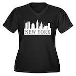 New York Skyline Women's Plus Size V-Neck Dark T-S