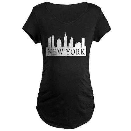 New York Skyline Maternity Dark T-Shirt