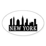 New York Skyline Oval Sticker (10 pk)