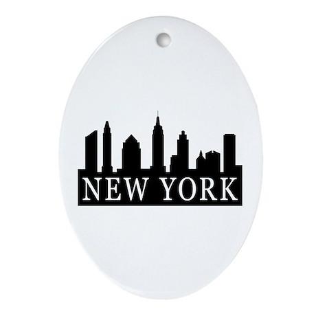 New York Skyline Oval Ornament