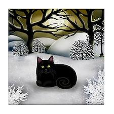 BLACK CAT WINTER SUNSET Tile Coaster