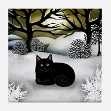 BLACK CAT WINTER SUNSET Tile Coaster